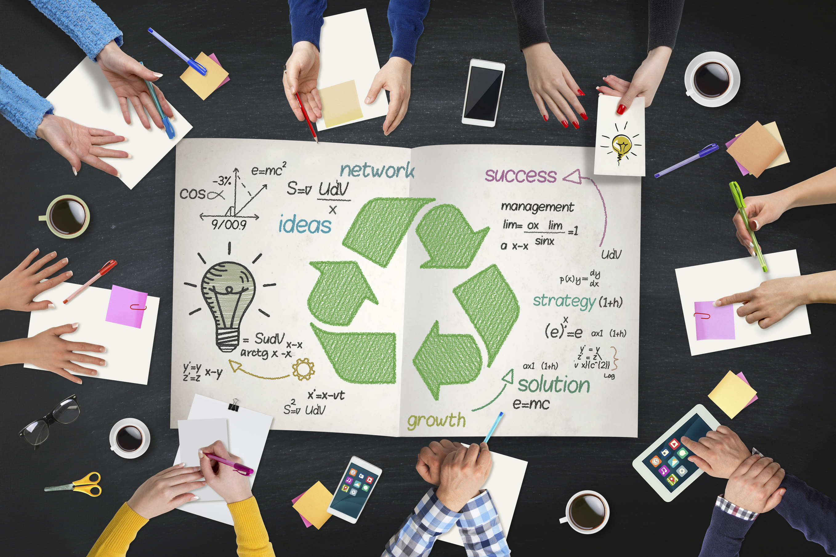 Business people meeting about recycle on table